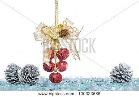 Luxury Red Jingle Bells And Pine Cone With Snow