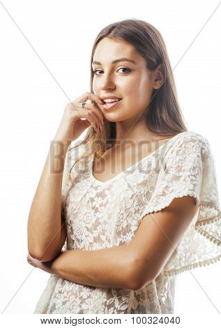 young beauty woman smiling dreaming isolated on white close up