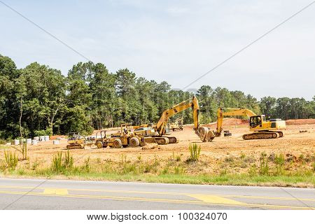 Heavy Equipment On New Residential Construction Site