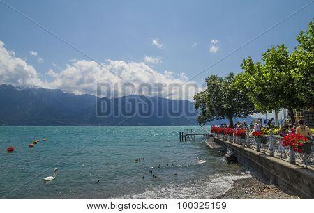 View of riviera 's Lake Geneva at Vevey, town in Switzerland .