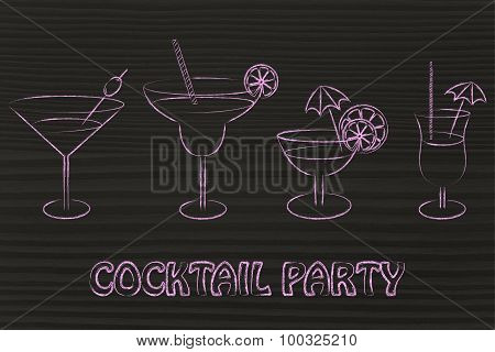 Cocktail Party: Set Of Drink Glasses