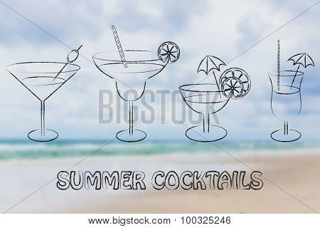 Summer Cocktails And Drink Glasses