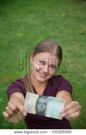 Woman With Swiss Franc Note
