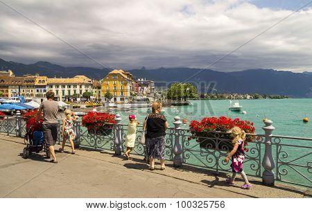 View of riviera 's Lake Geneva at Vevey, town in Switzerland