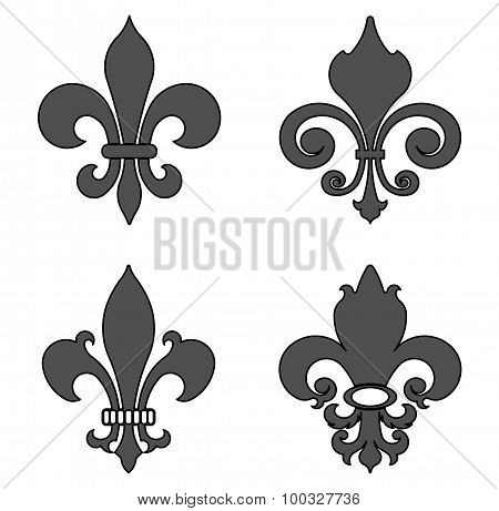 fleur de lis, heraldic flower symbol - vector illustration