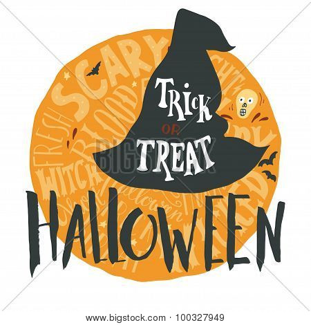 Halloween Grunge Emblem With A Witch Hat Silhouette And Hand Lettering On Full Moon In Back