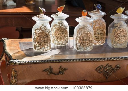 Empty Glass Jar With Cap Decorated With Fruits Figurine