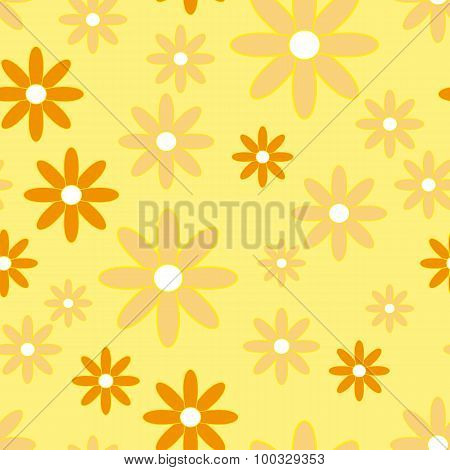 Vector Seamless Patter With Plane Flowers. Background With Simple Camomiles