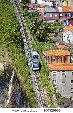 Funicular Dos Guindais And Picturesque Houses In Historic Centre Of Porto, Portugal