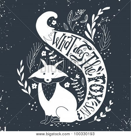 Hand Drawn Vintage Label With A Fox And Hand Lettering.