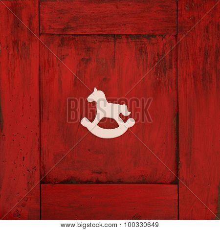 Red wooden frame