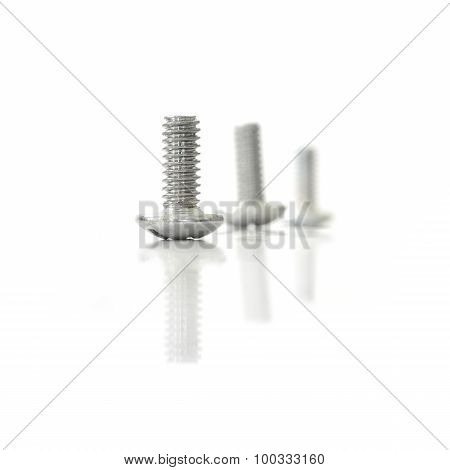Screw Bolt Nuts And Reflect On Isolate White Background
