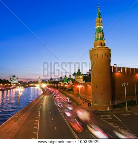 Illuminated Moscow Kremlin, Russia At Night