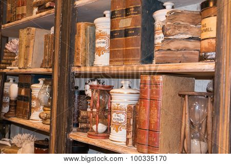 Vintage Wooden Library, Ceramic Containers And Hourglass