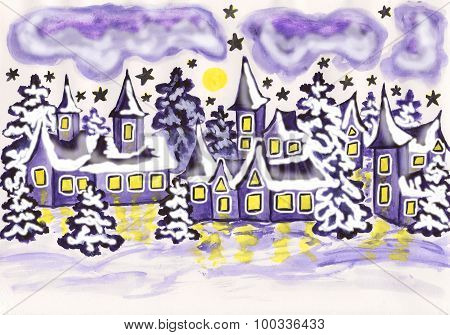 Houses In Violet Colours, Painting