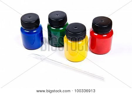 Batik Equipment: Artist Paints And Glass Tube Isolated On White Background.