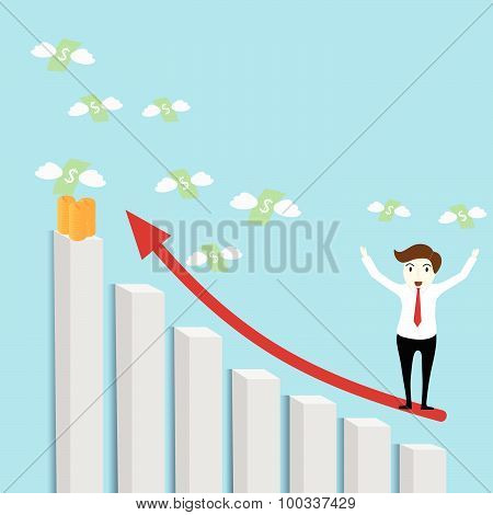 Businessman Standing On A Growing Graph