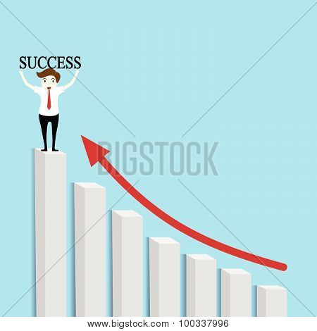 Businessmen Standing On Top Of Bar Graph