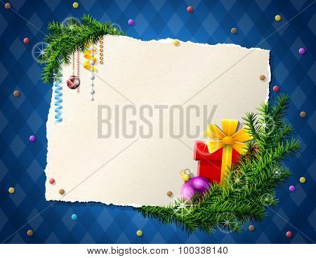 Paper For Christmas List With Gift And Bauble