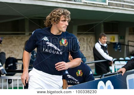 Rome, Italy - November 18 2006. Rugby Test Match Italy-argentina. Italian Player Mirco Bergamasco On