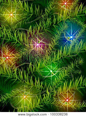 Christmas Tree Branches And Light Garland