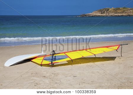 Windsurfing Surfboard Drying On The Shore