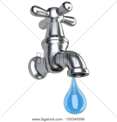 Metallic Tap With Drop Water