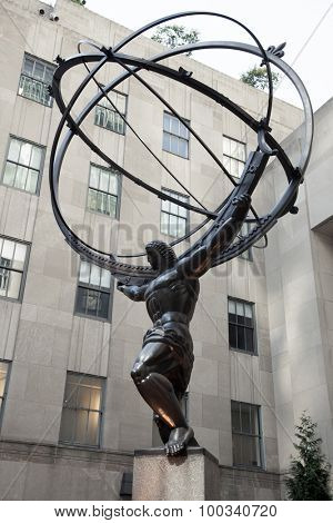 NEW YORK CITY, USA - SEPTEMBER, 2014: Atlas statue at Rockefeller Center in New York City