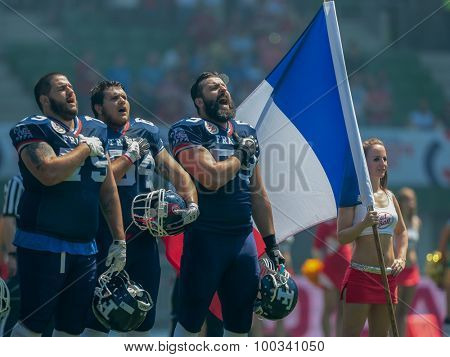 VIENNA, AUSTRIA - JUNE 7, 2014: Team France during the national anthem before the game against Finland.