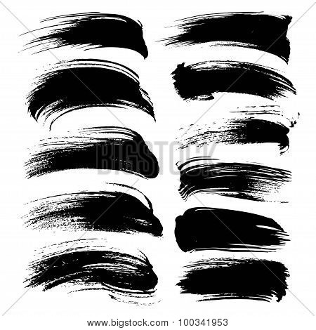 Abstract Black Long Gouache Smears Set Isolated On A White Background