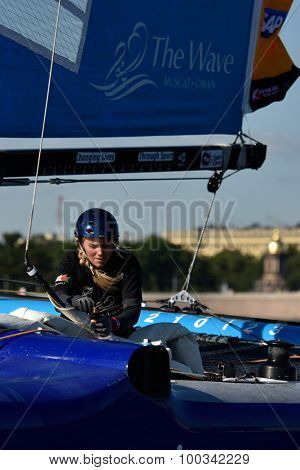 ST. PETERSBURG, RUSSIA - AUGUST 20, 2015: Two-time British Olympic gold medalist Sarah Ayton in The Wave, Muscat sailing team of Oman during 1st day of St. Petersburg stage of Extreme Sailing Series