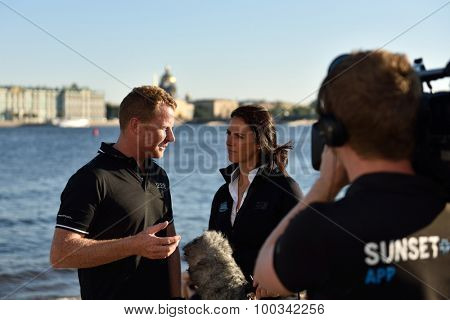 ST. PETERSBURG, RUSSIA - AUGUST 21, 2015: 2009 Series winning skipper Pete Cumming of UK talks with press on St. Petersburg stage of Extreme Sailing Series. Pete has 7 years of Extreme 40 experience