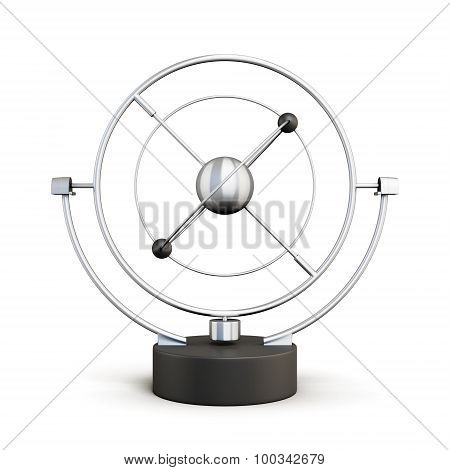 Kinetic Motion Pendulum Isolated On White Background
