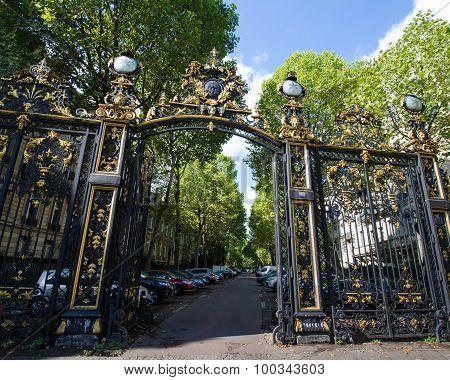 Ornate gates to Monceau Park in Paris, France