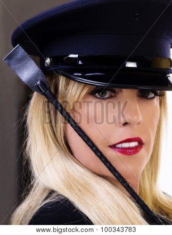 Middle Aged Caucasian Blond Woman Portrait Hat Crop