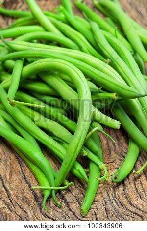 Green Beans On Wooden
