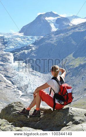 Traveler at theTrift glacier. Switzerland