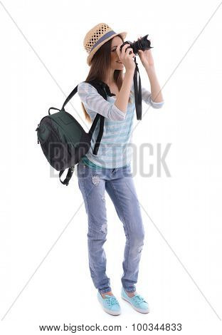 Traveler with camera isolated on white
