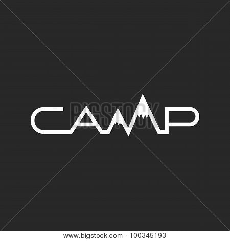 Travel Logo, Camp Word Lettering, Travel Agency Black And White Emblem, Outdoor Symbol For Print T-s