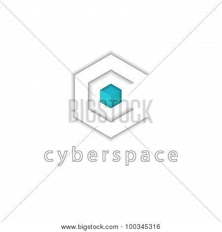 Letter C Logo Tech, 3D Cube And Hexagon Graphic Shape, Virtual Cyberspace Icon, Scince Or Cyber App