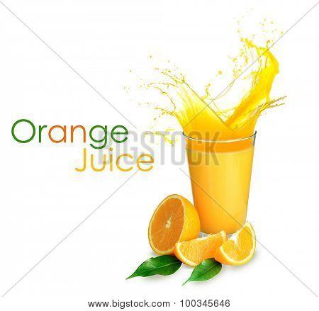Orange juice with splashes isolated on white