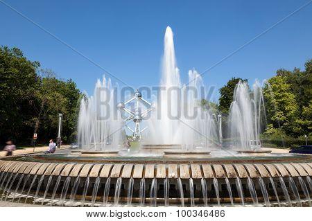 Fountain At The Atomium In Brussels, Belgium