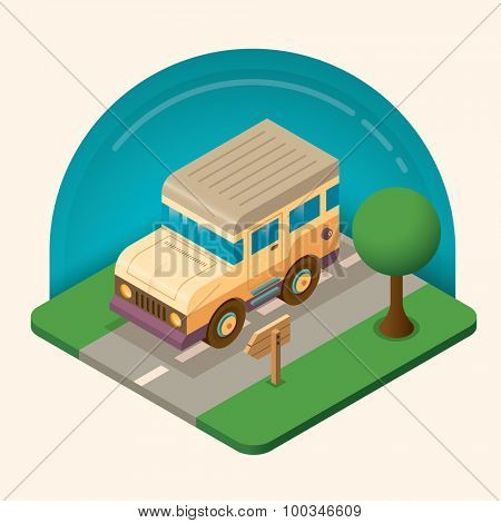 Isometric illustration of a car. Vector illustration.