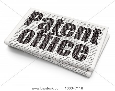 Law concept: Patent Office on Newspaper background