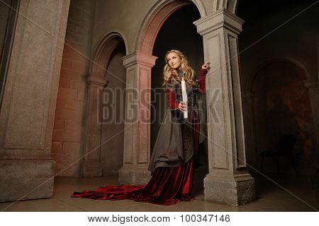 Young Woman At Medieval Caslte