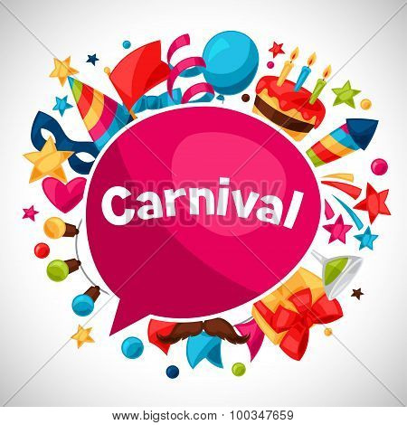 Carnival show and party greeting card with celebration objects