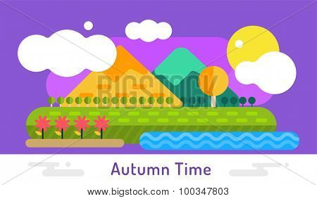 Autumn vector background. Autumn cartoon style background. Yellow autumn colors. Autumn landscape illsustration. Autumn leaves, trees, mountains. Outdoor Autumn