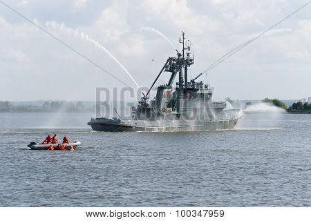 Russia, St. Petersburg, July 15, 2015. Military Navy Training.. Fire Ship Water Cannons Emit A Jet O