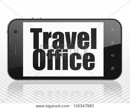 Tourism concept: Smartphone with Travel Office on display