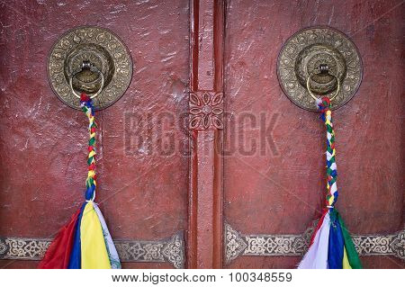 Door Handle Of Gate Door Of Gompa - Tibetan Buddhist Monastery. Ladakh, India